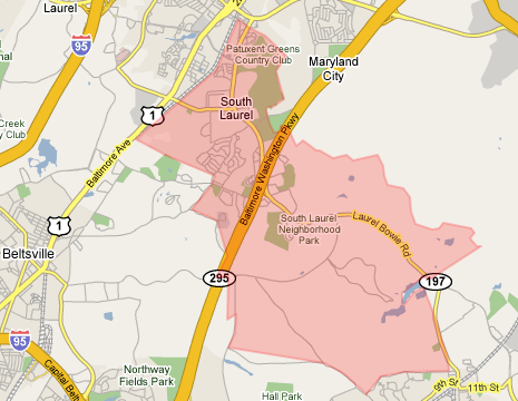 Map of South Laurel Zip Code 20708